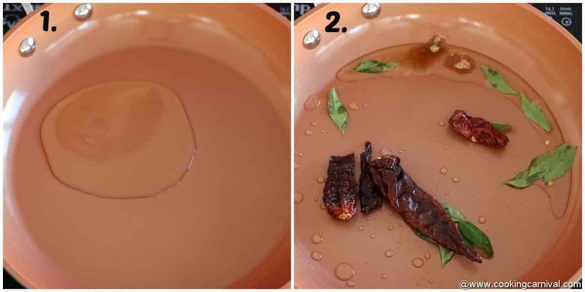 sauteing Oil, red chili and hing in a pan