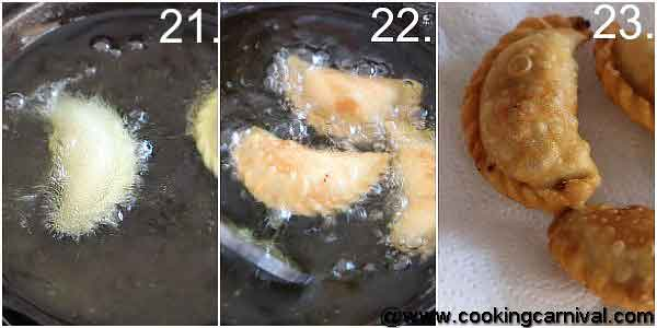 Step by step process of making gujiya frying