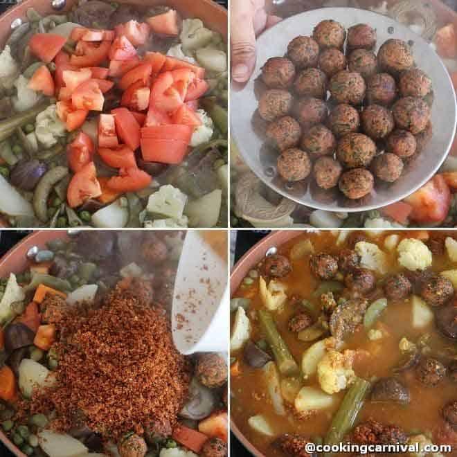 adding masala in undhiyu collage