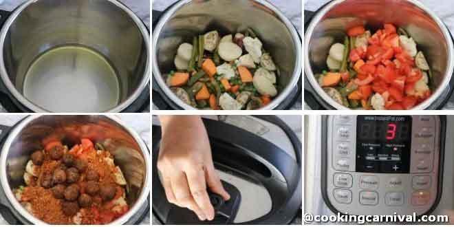 Making undhiyu in instant pot