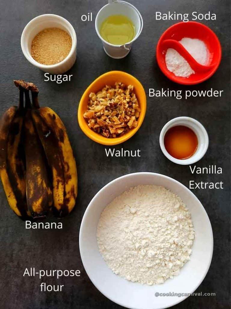 premeasured ingredients for Banana walnut muffins