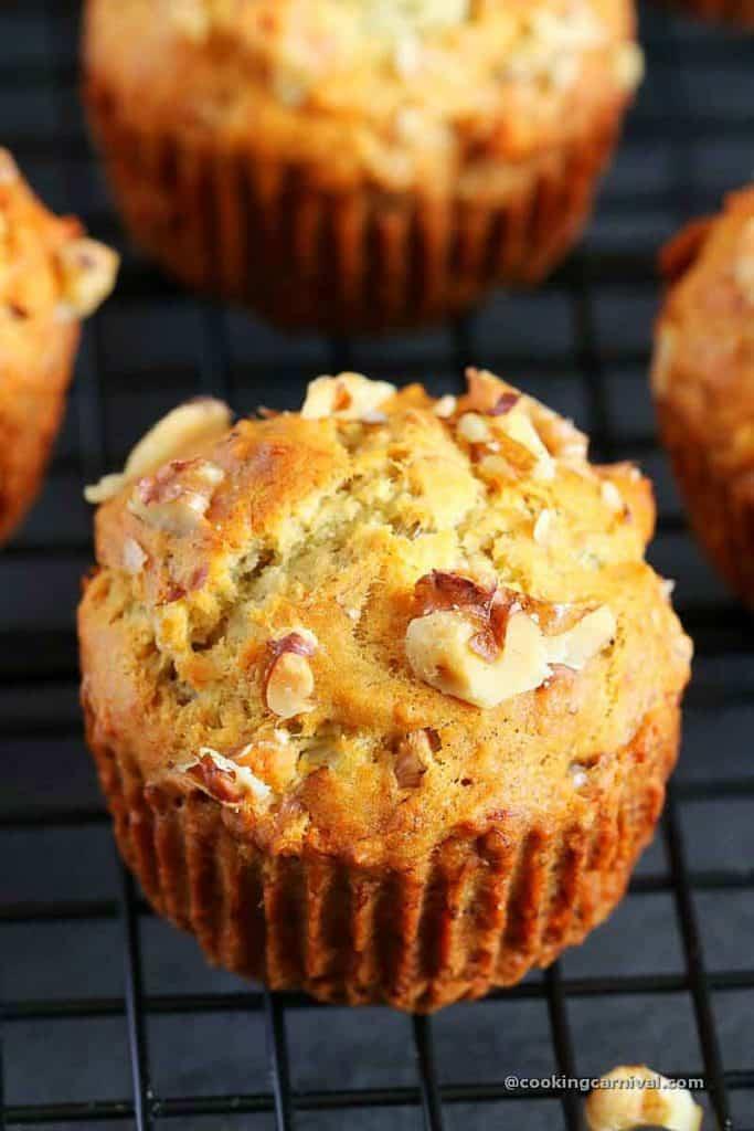 close up shot of Banana nut muffins