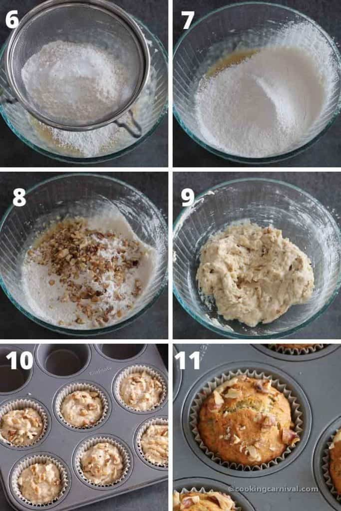 Collage of mixing wet ingredients with dry ingredients to make the banana muffins