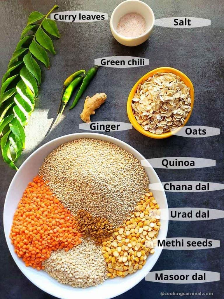 Pre-measured ingredients for Quinoa Dosa