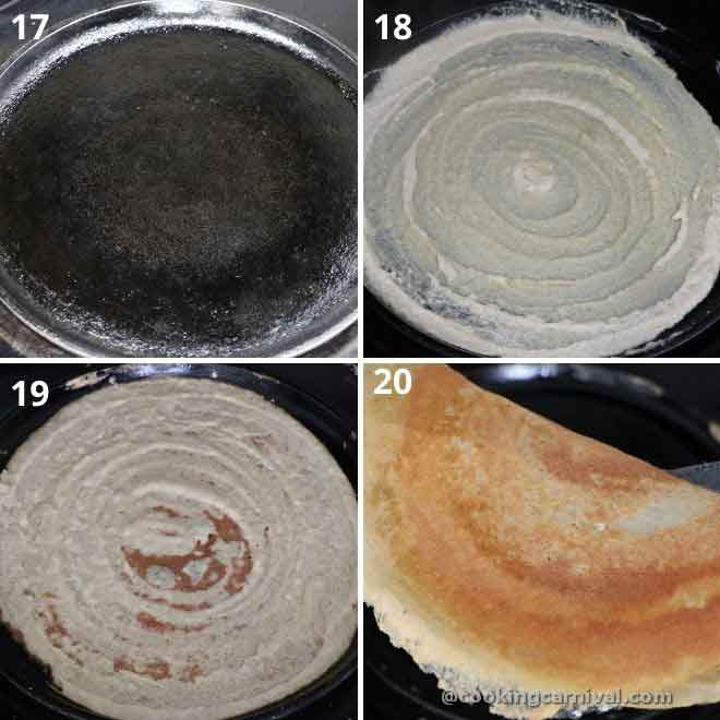 Making instant dosa in cast iron pan