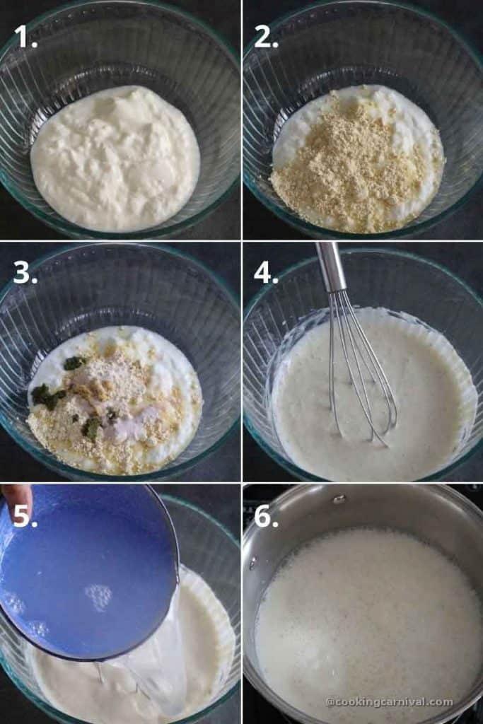 Collage of making kadhi