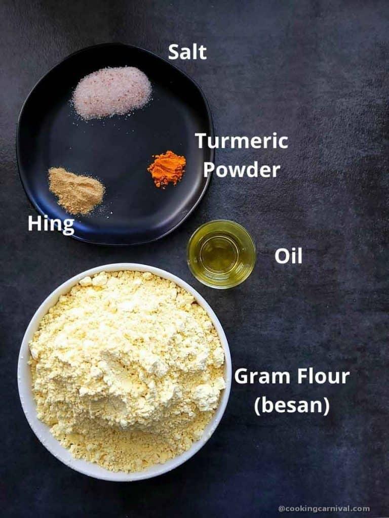 Pre-measured ingredients for sev recipe