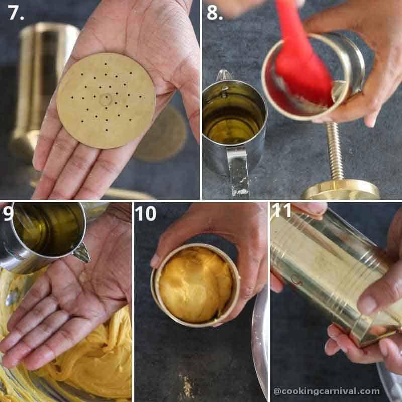 collage of filling the sev dough in sev maker