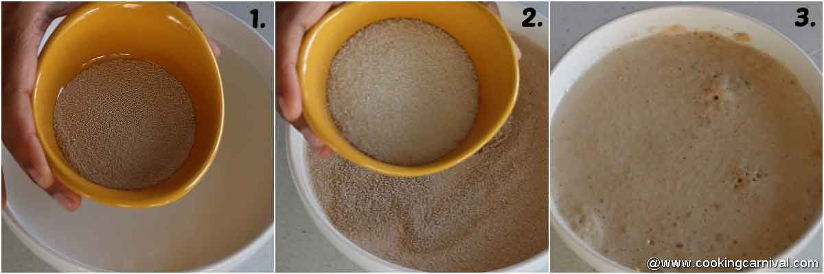 adding yeast and sugar in warm milk and activating the yeast