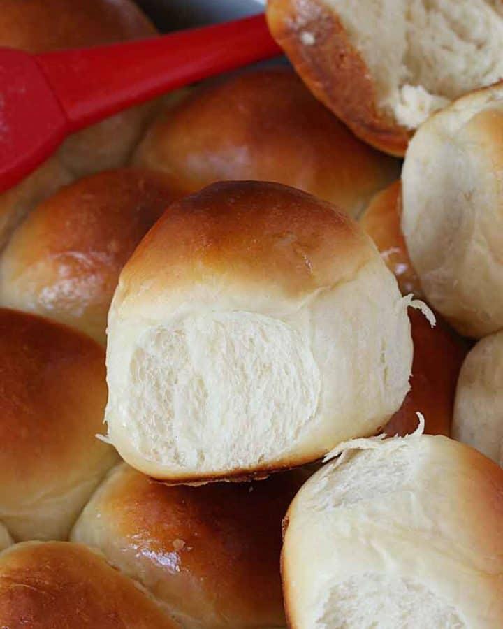 Dinner rolls in a baking pan