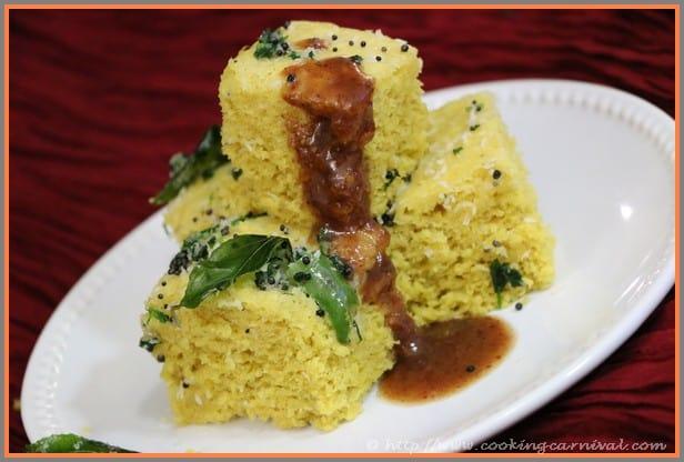 Khaman Dhokla, pressure cooker khaman dhokla, instant pot khaman dhokla