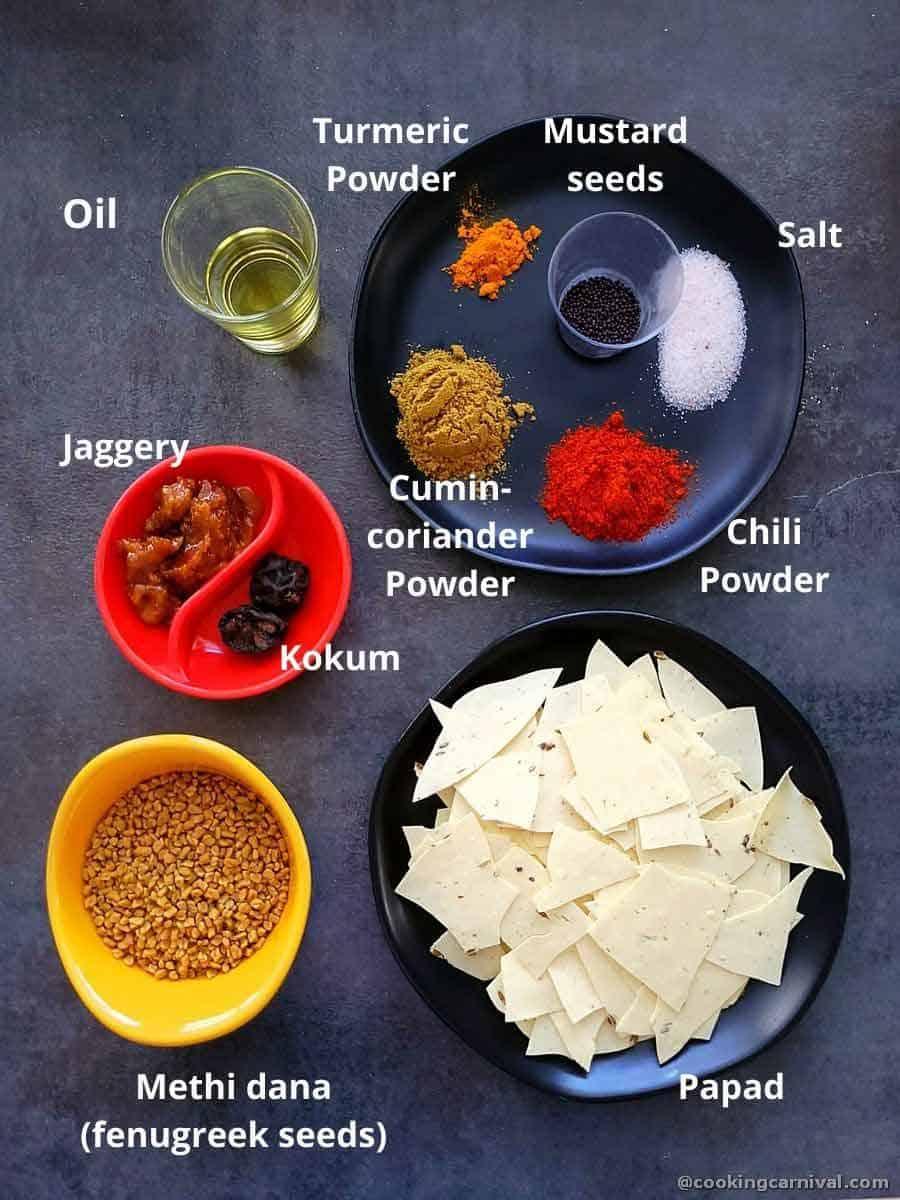 Pre measured ingredients for Methi papad nu shaak