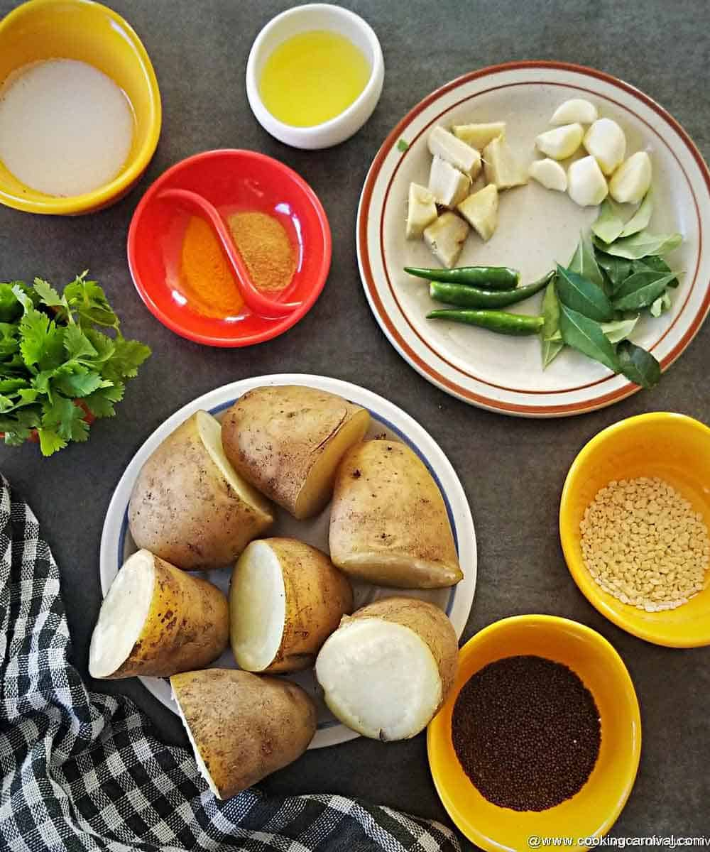pre-measured ingredients for batata vada
