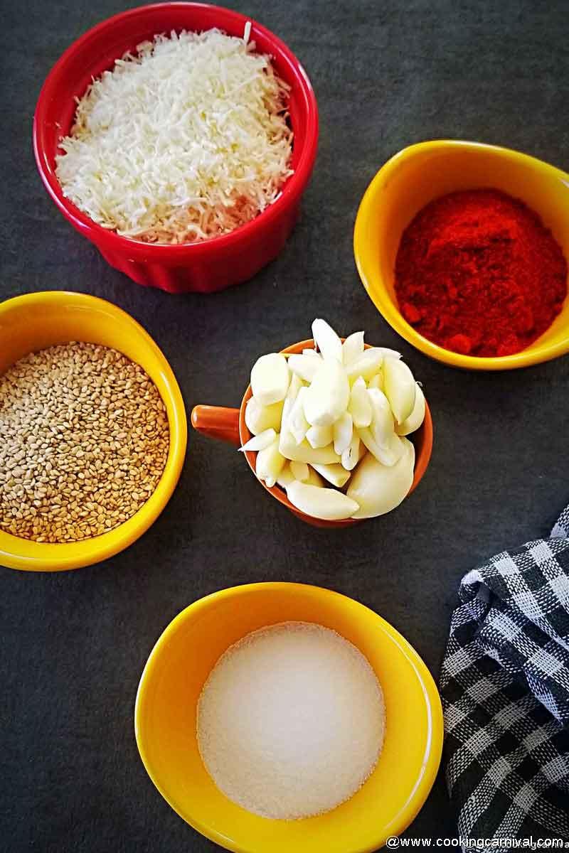 pre-measured ingredients for dry garlic chutney