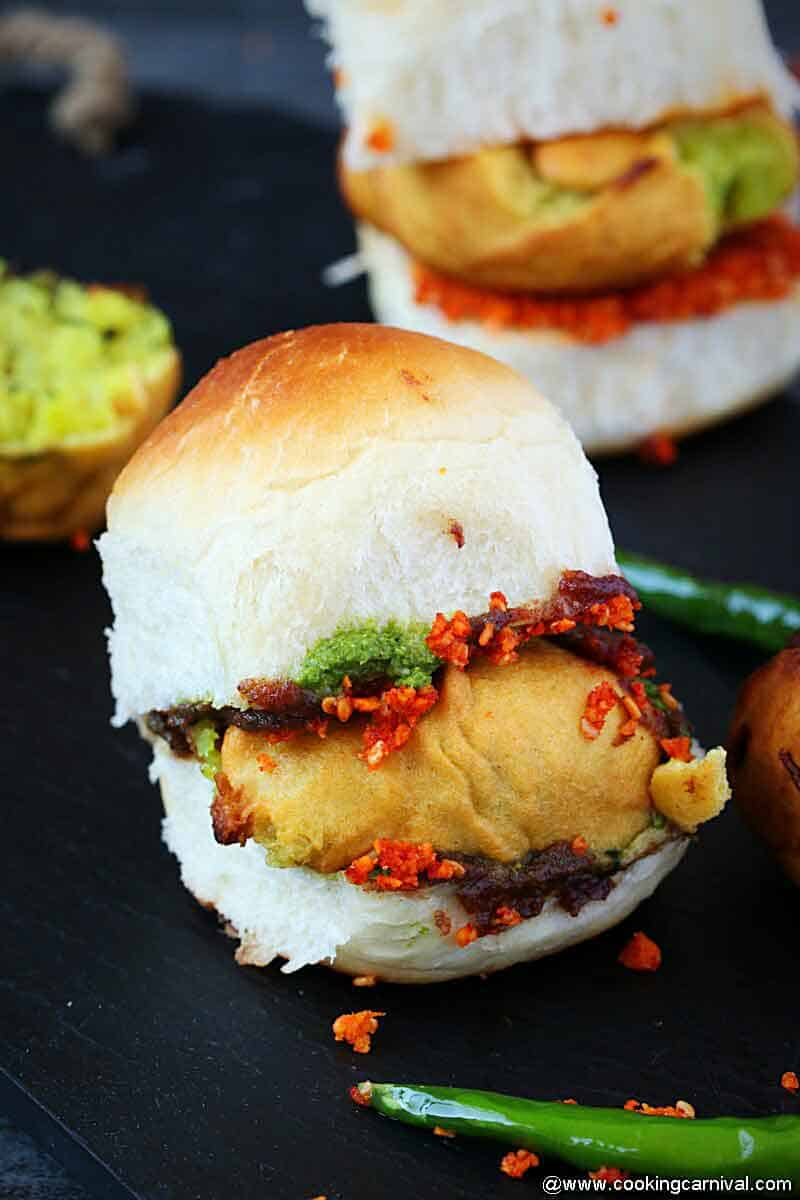 vada pav from the front angle