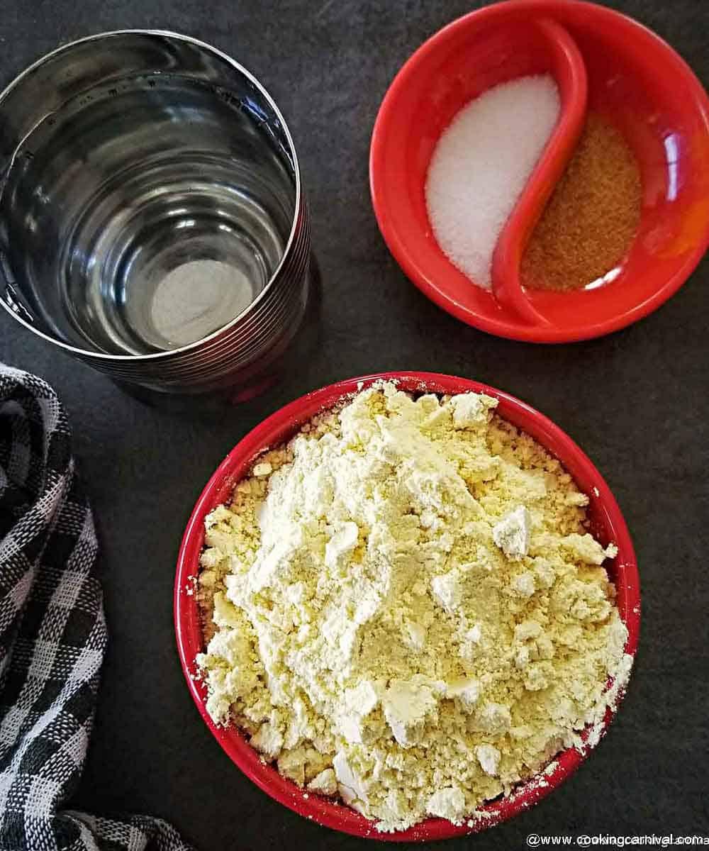 Pre measured ingredients for batata vada batter
