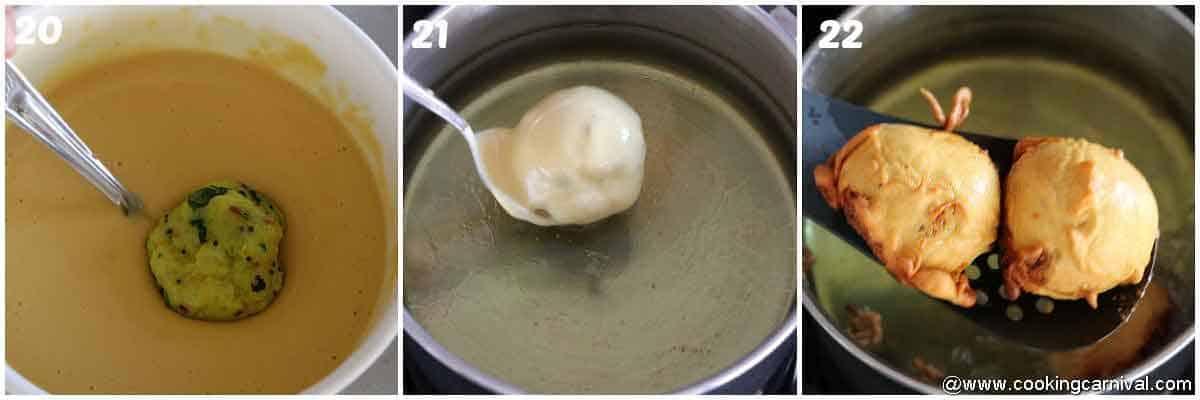 deep Frying vada in oil