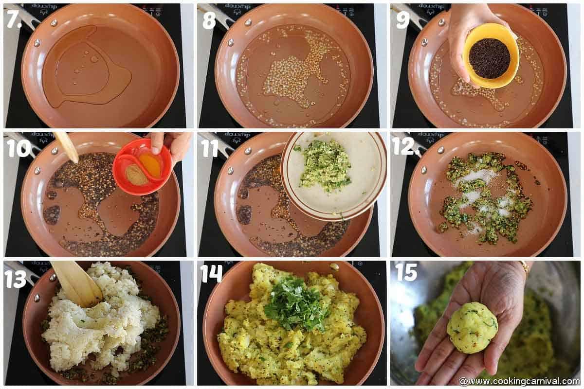 Making batata vada in a nonstick pan