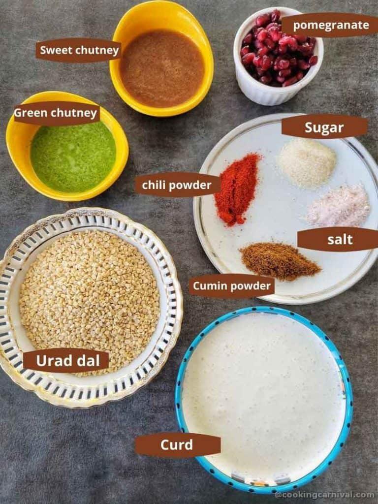 premeasured ingredients for dahi bhalla on black tile