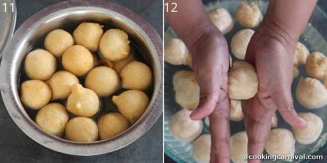 soaking vada in warm water and pressing vada in between palm