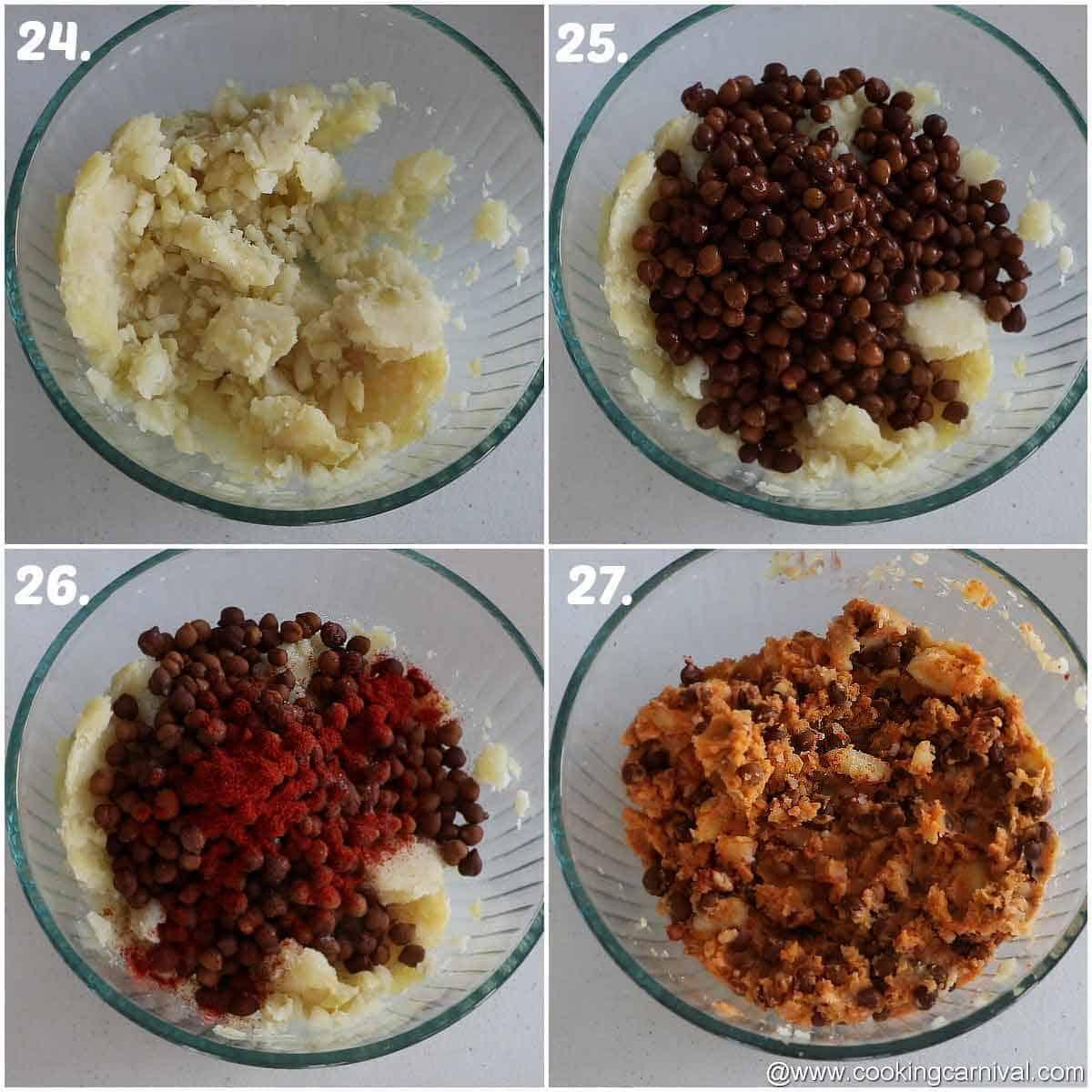Potato and kala chana mixture with salt and chili powder in bowl