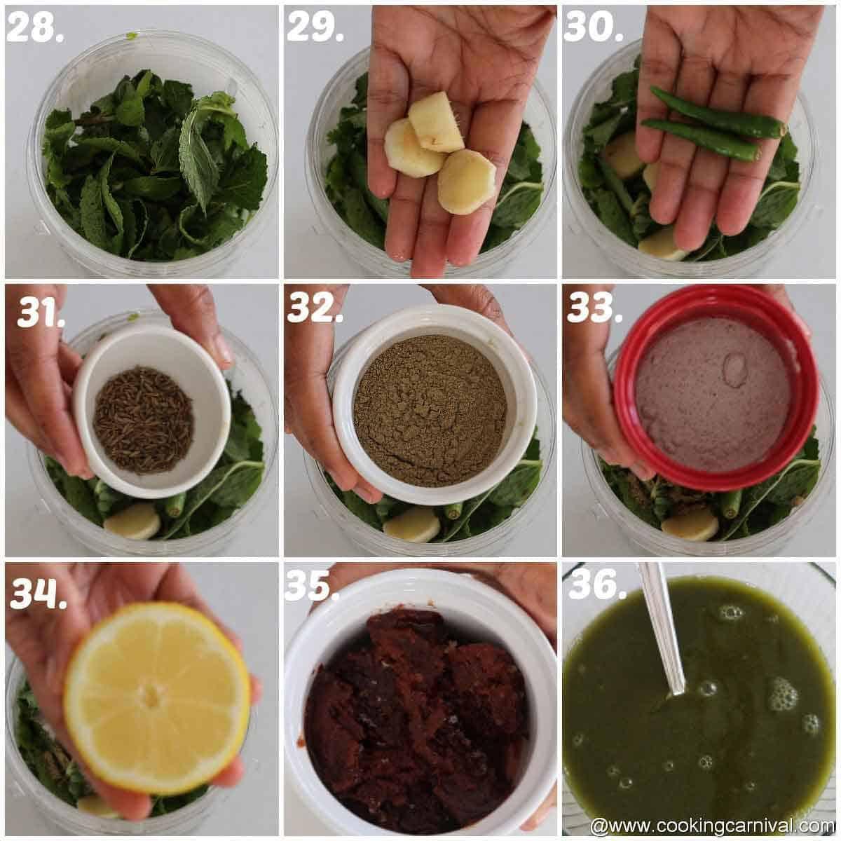 Step by step process of making pani puri water