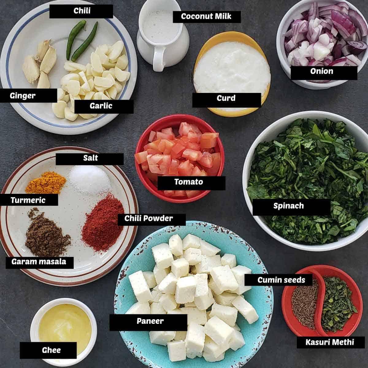 Pre measured ingredients for palak paneer