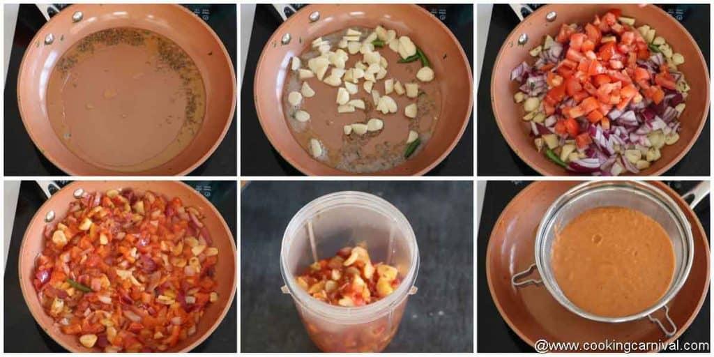 making gravy for paneer
