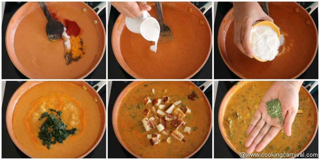 adding spices in palak pameer gravy
