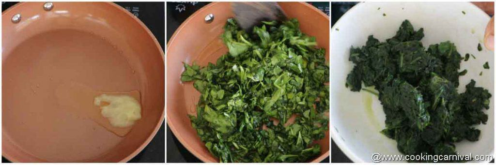 sauteeing spinach in ghee