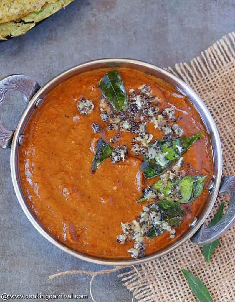 Ginger chutney in steal bowl, clicked from the top
