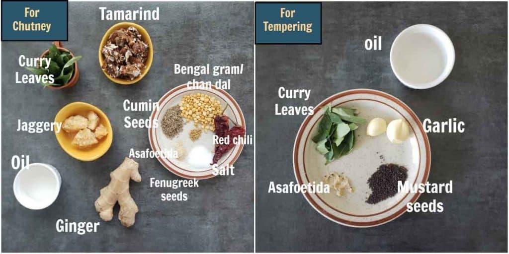 Pre measured ingredients for allam chutney