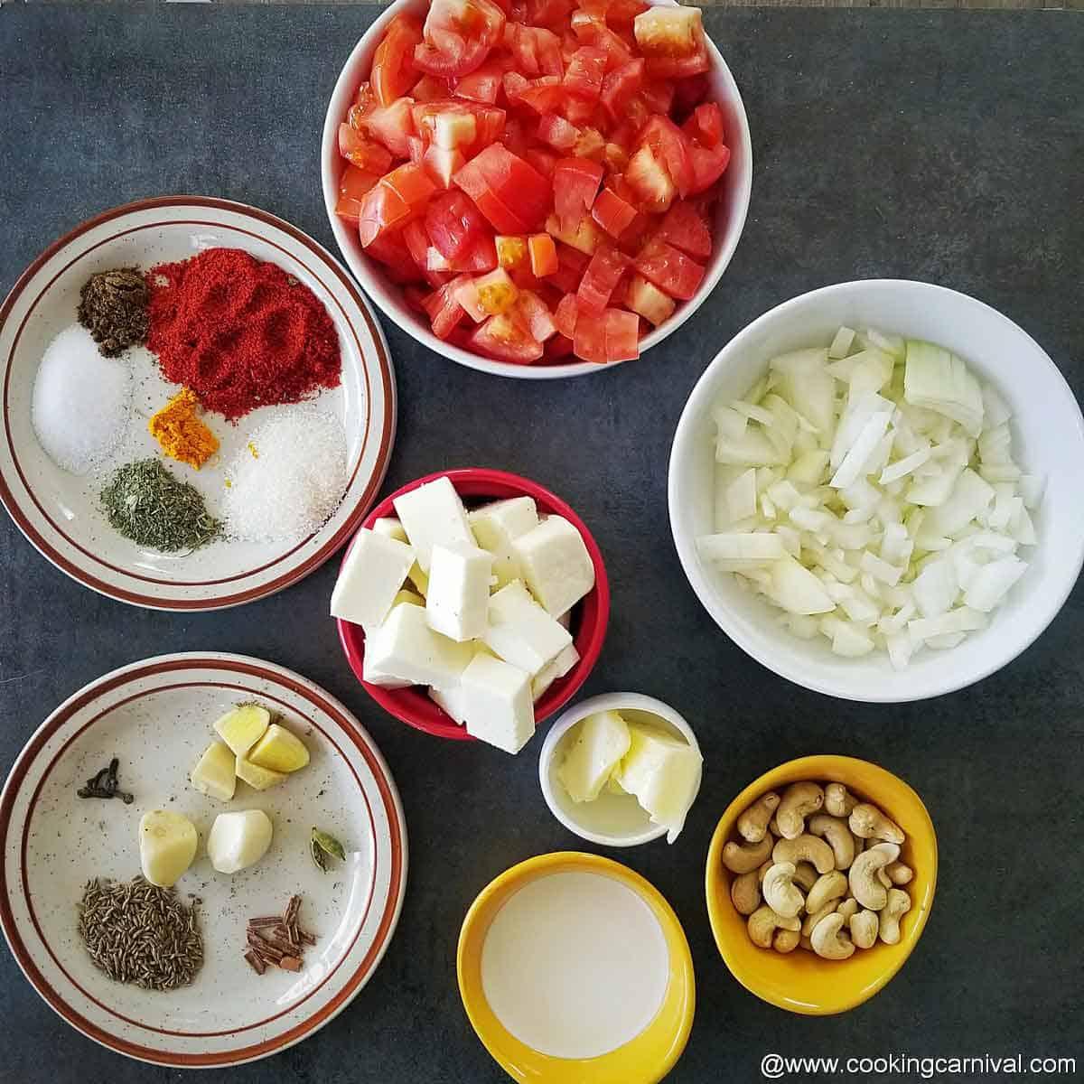 Pre-measured ingredients for paneer curry