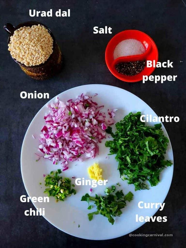 Pre measured ingredients for medu vada