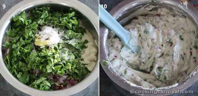 Mixing cilantro, onion, ginger, green chili, curry leaves in urad dal batter