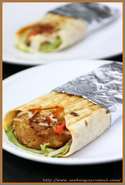 Paneer And Potato Tortilla Wrap