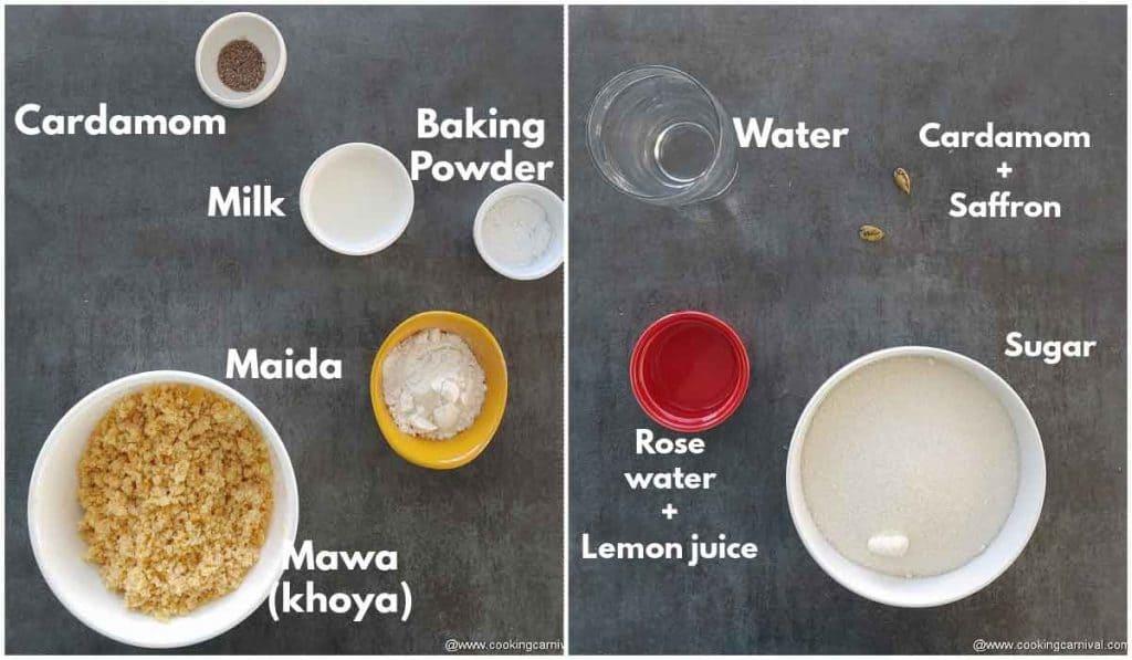 Pre-measured ingredients for gulab jamun recipe