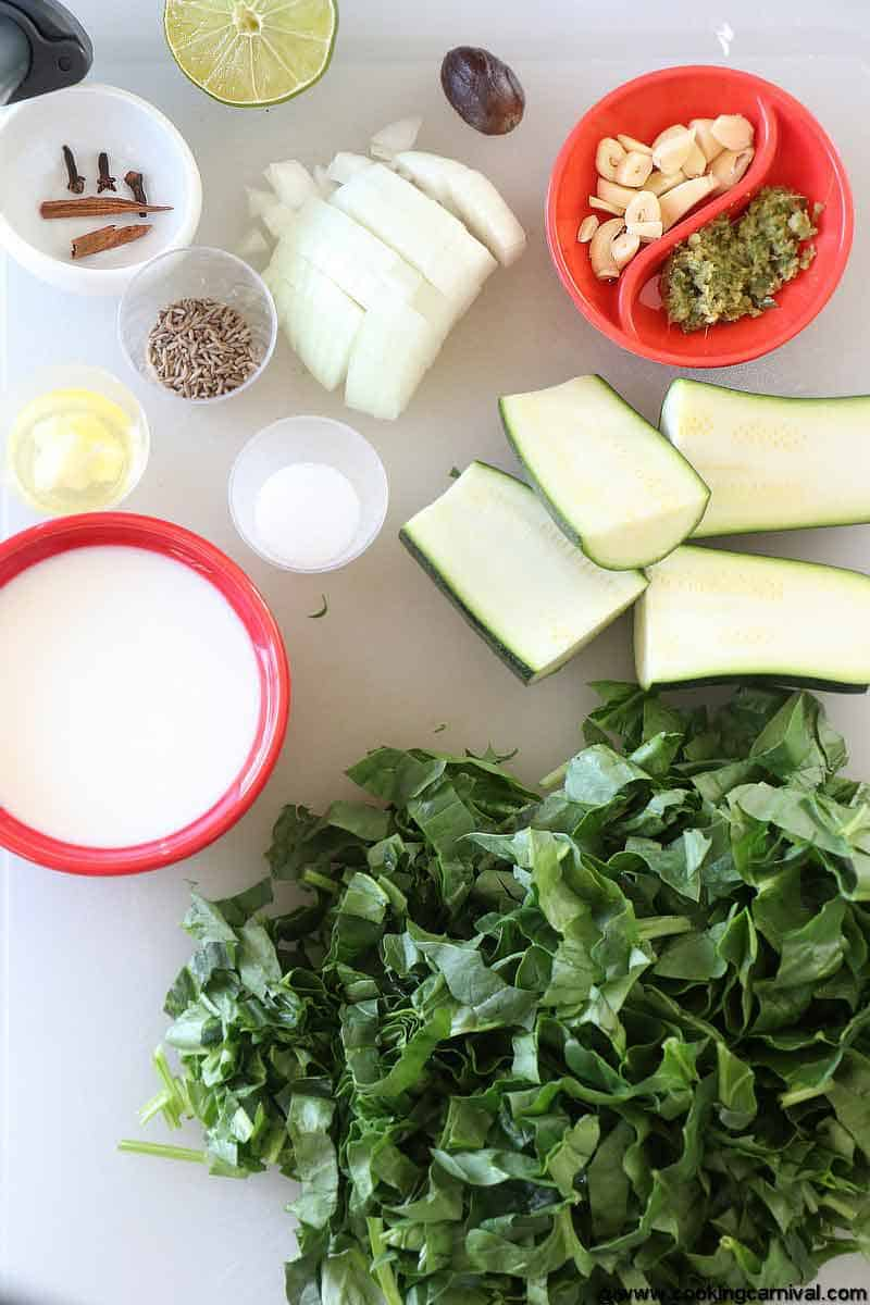 Ingredients for green soup