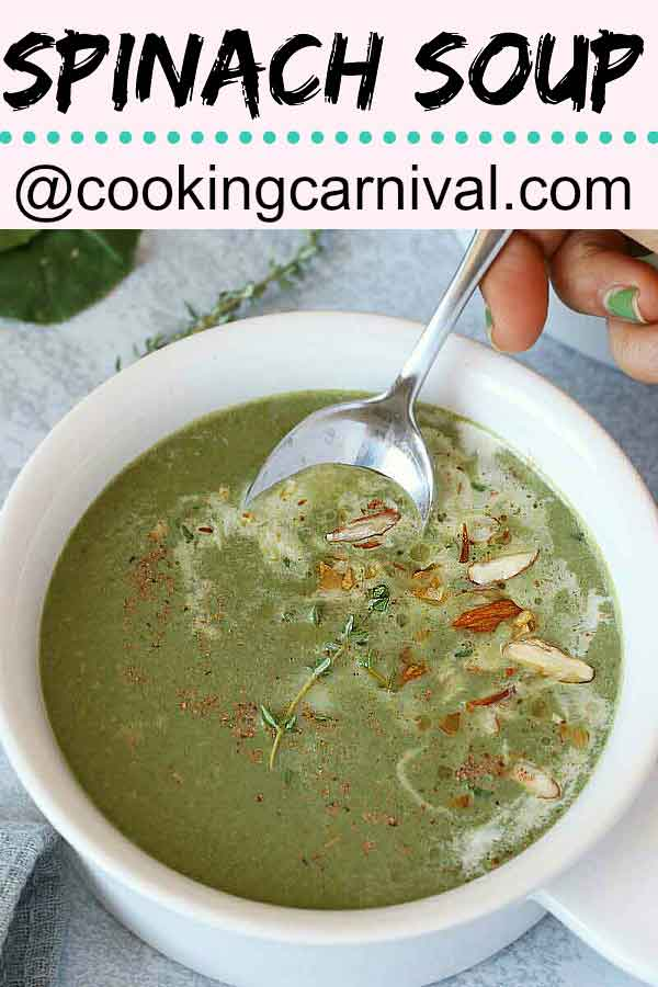 Spinach soup is refreshing, nutritious and delicious with lots of fiber. It is easy to make and can be ready under 30 minutes from start to finish.