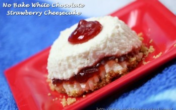 No Bake White Chocolate Strawberry Cheesecake