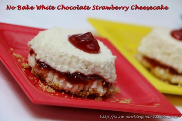 No Bake White Chocolate Strawberry CheesecakemIN4