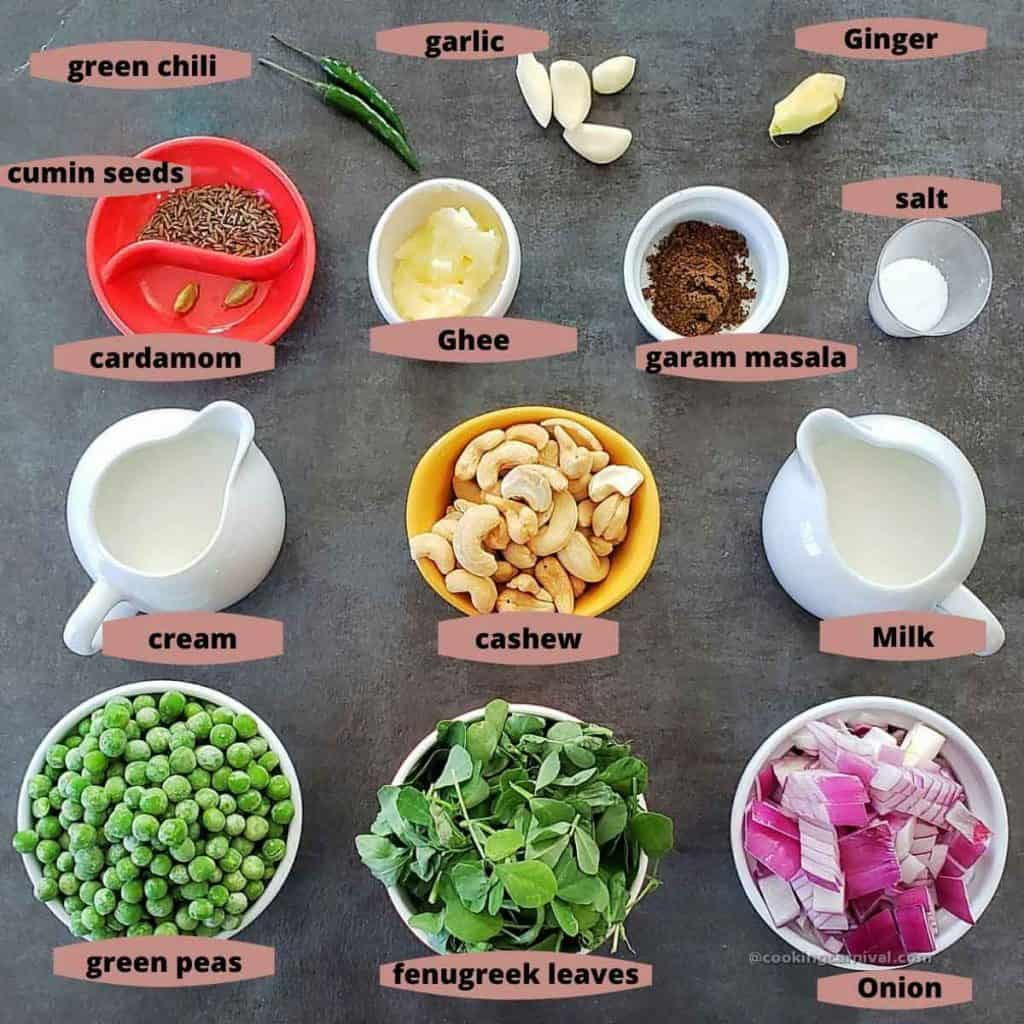 Ingredients for Methi matar malai on black tile