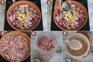 Collage of making cashew onion based gravy