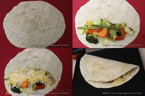 Oven Roated Veggie Quesedilla _6to10