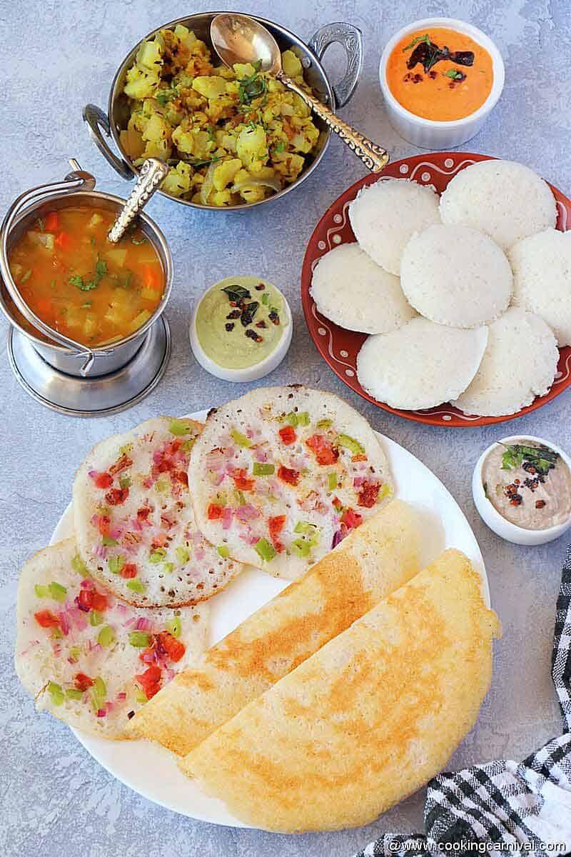 South Indian platter, Idli, dosa, uttapam, 3 chutneys and sambar