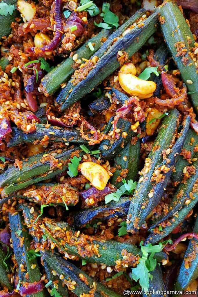 Close up shot of bhindi masala recipe