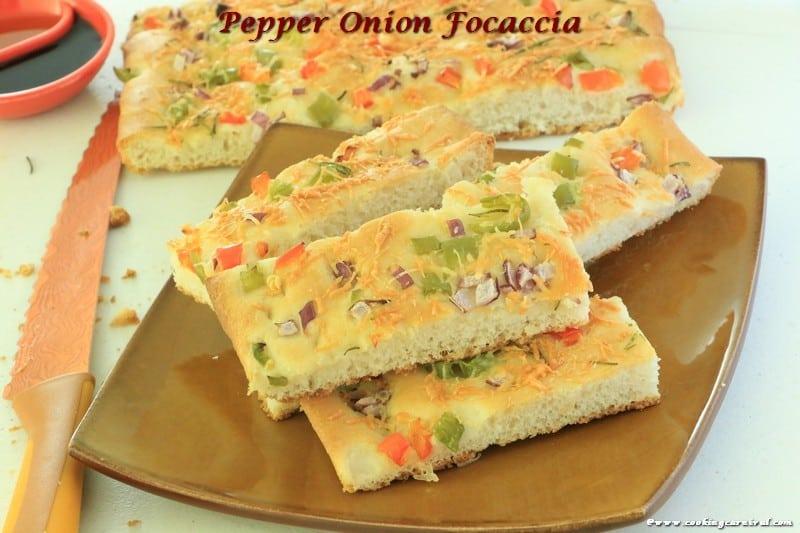 Pepper Onion Focaccia Bread