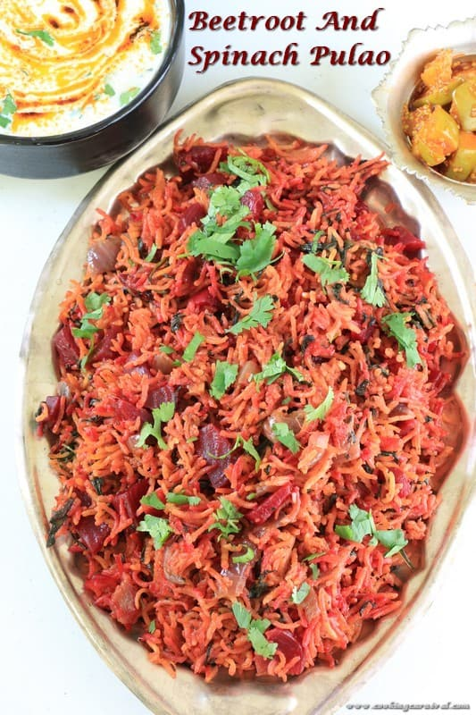 Beetroot And Spinach Pulao