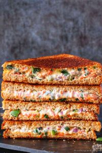 stack of curd sandwich