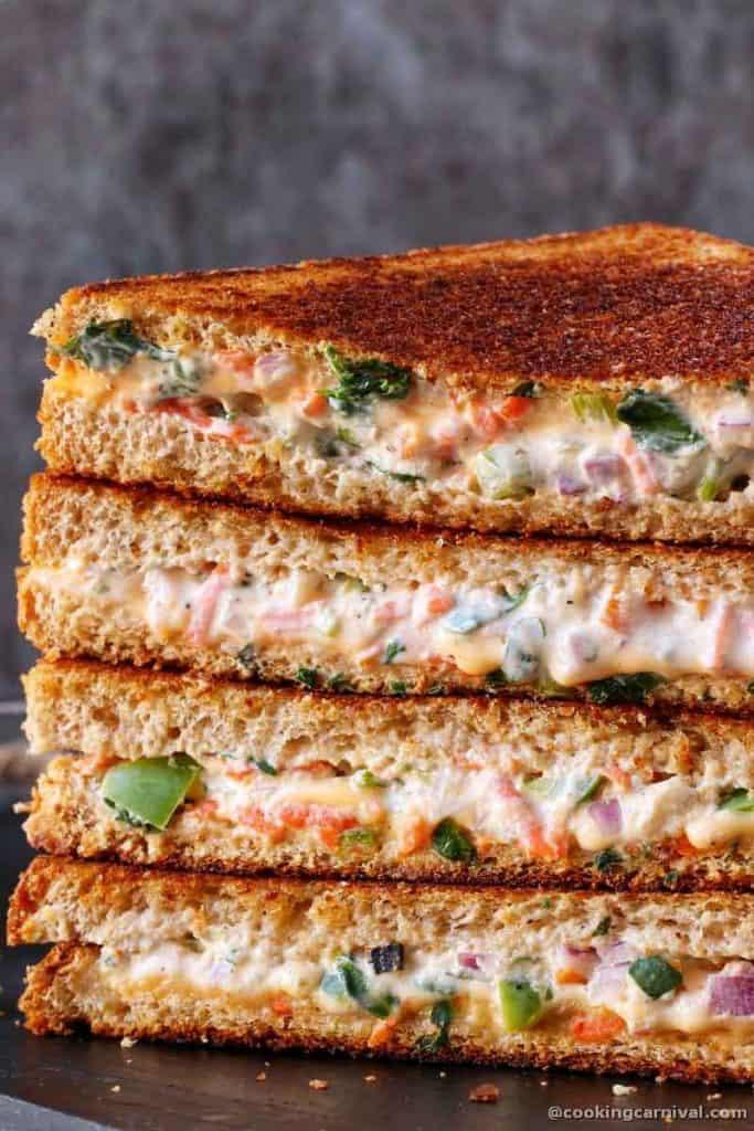 showing texture of yogurt sandwich